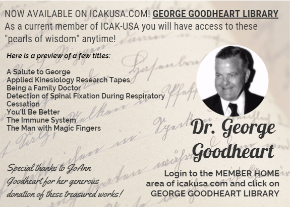 now available george goodheart library