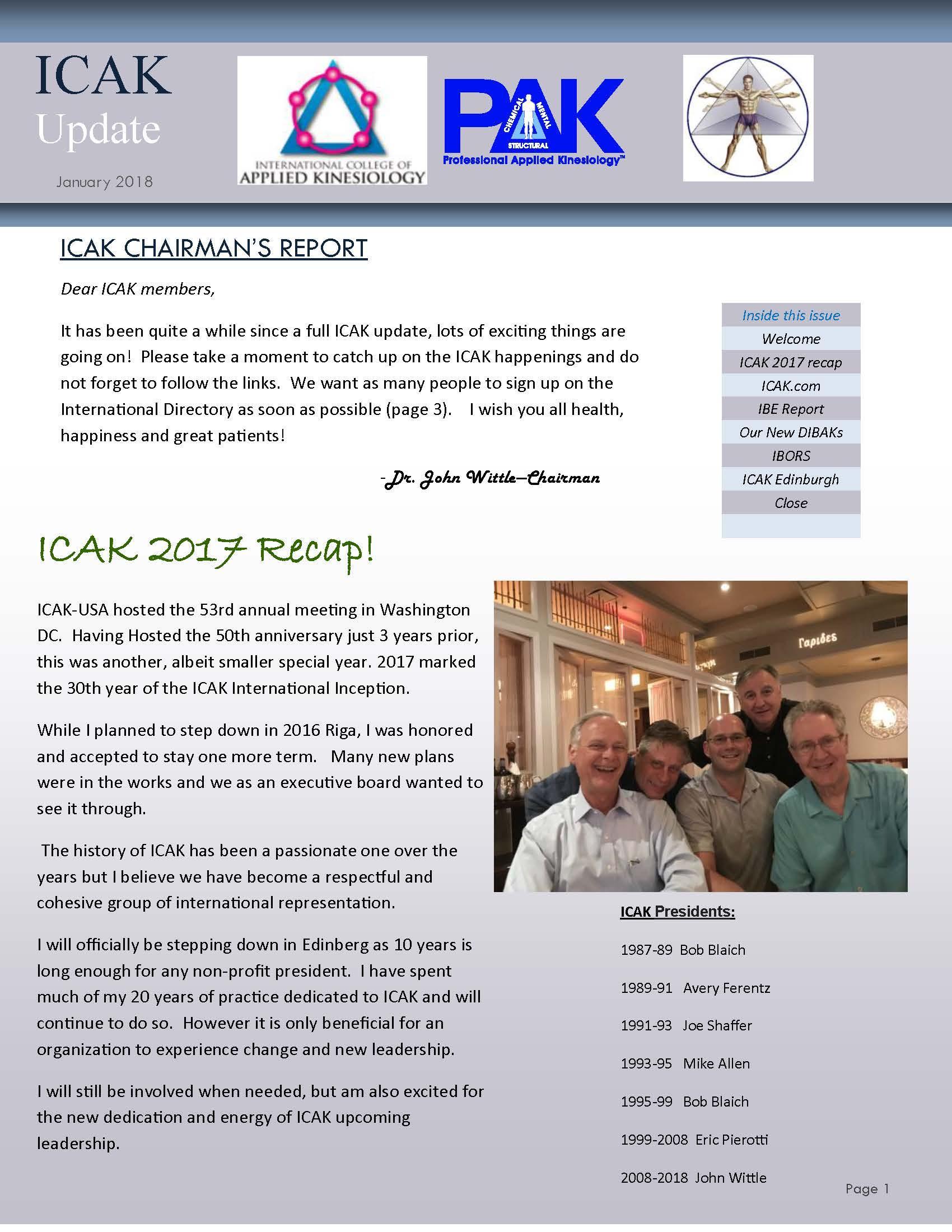 ICAK Update January 2018